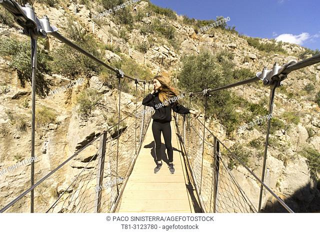 suspension bridge of the Turia river, Chulilla, Valencia Spain