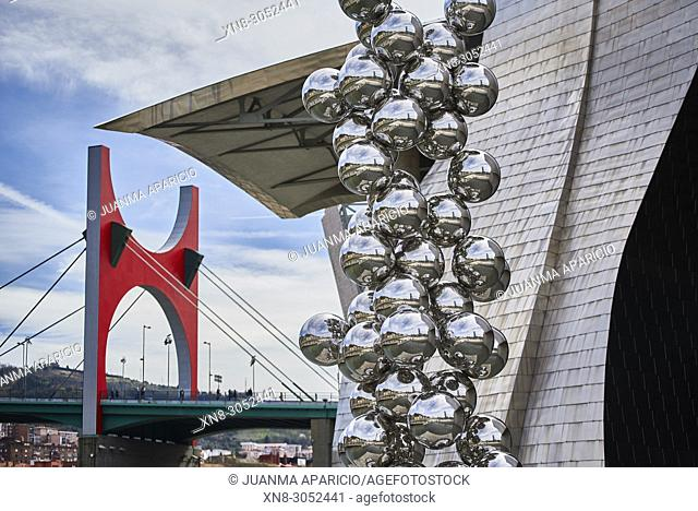 Tall Tree & The Eye, sculpture by Anish Kapoor, Guggenheim Museum, Abandoibarra, Bilbao, Biscay, Basque Country, Euskadi, Spain