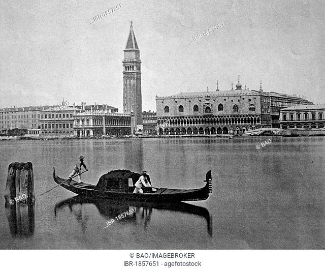Early autotype of Venice, Veneto, Italy, historical picture, 1884