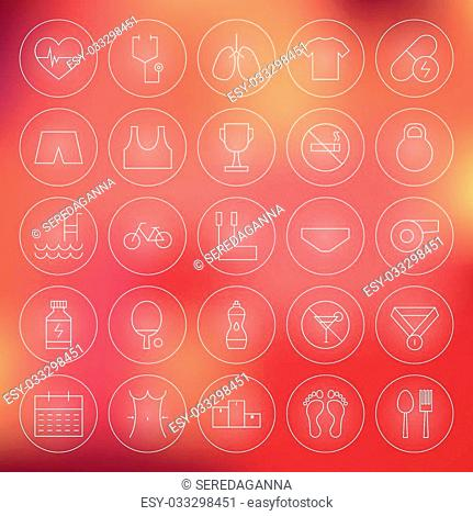 Sport and Healthy Lifestyle Circle Line Icons Set. Vector Set of Fitness and Dieting Modern Thin Line Icons for Web and Mobile over Blurred Background