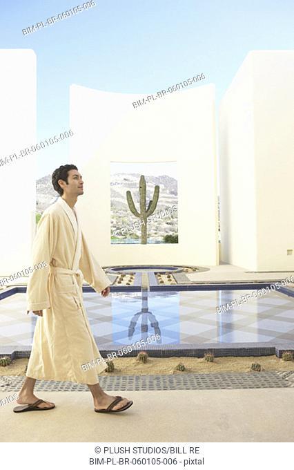 Man in robe at spa resort, Los Cabos, Mexico