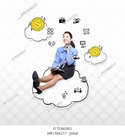 a business woman sitting on a cloud