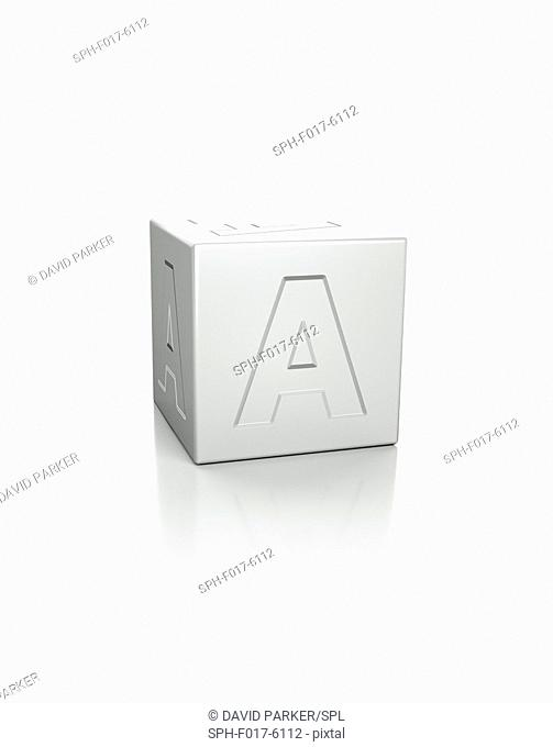 Cube with the letter A embossed