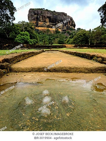 Cistern, spring at the Rock of Sigiriya, Lion Rock, column of rock of an eroded volcano, UNESCO World Heritage Site