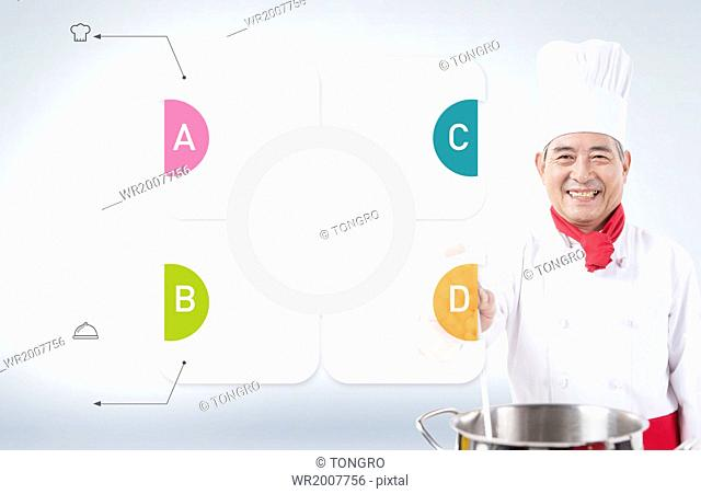 an infographic template with old people cooking