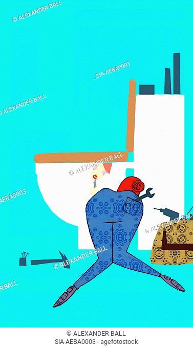 Woman fixing toilet