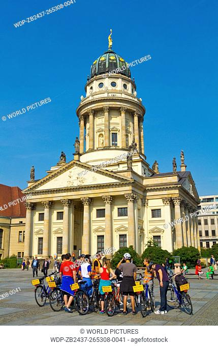 Bicycle guided tour group, Gendarmenmarkt square, Friedrichstadt, Mitte district, central Berlin, Germany