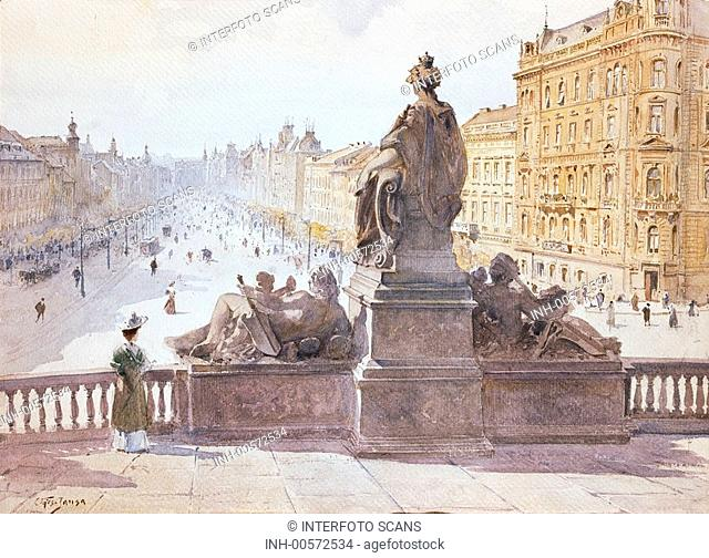 fine arts, Jansa, Vaclav 1859 - 1913, painting, Prague, monument of Maria Theresia, watercolour, 1899, Czechia, Bohemia, Austia-Hungary, Europe, view