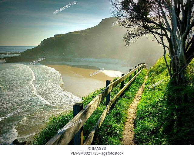Road to Santiago. Vidiago beach and cliffs. Llanes municipality. Asturias, Spain