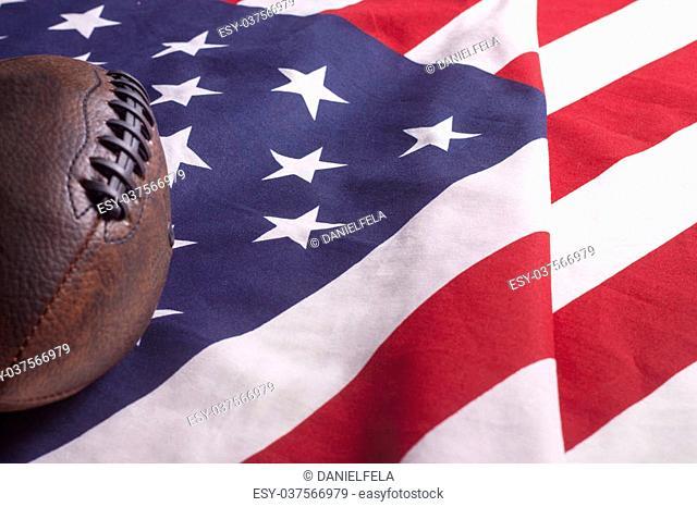 Football on USA flag, freedom country symbol of liberty