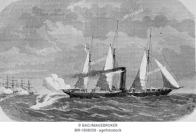 The German yacht Grille at the beginning of the battle at Hiddensee, Baltic Sea, Germany, 17th August 1870, historical illustration