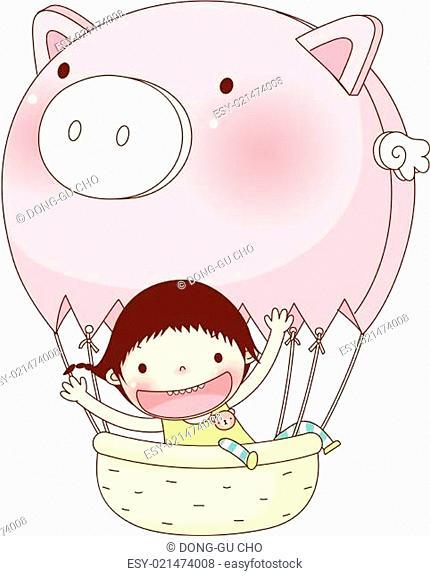 Portrait of girl sitting on hot air balloon