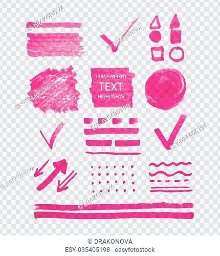Vector collection of highlighter marker spots and signs, hand drawn decorative symbols, transparent pink elements on gray grid