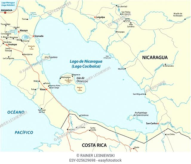 vector map of Central America Nicaragua lake