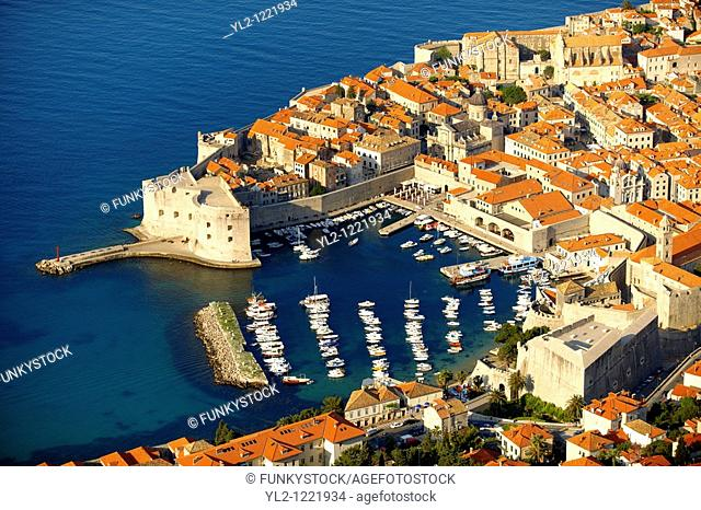 Arial view of Dubrovnik old town port - Croatia