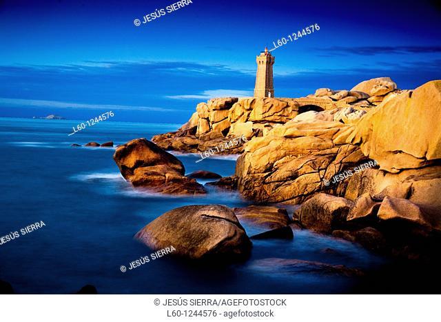 Lighthouse at Cote de Granit Rose, France, Brittany, Granit Rose