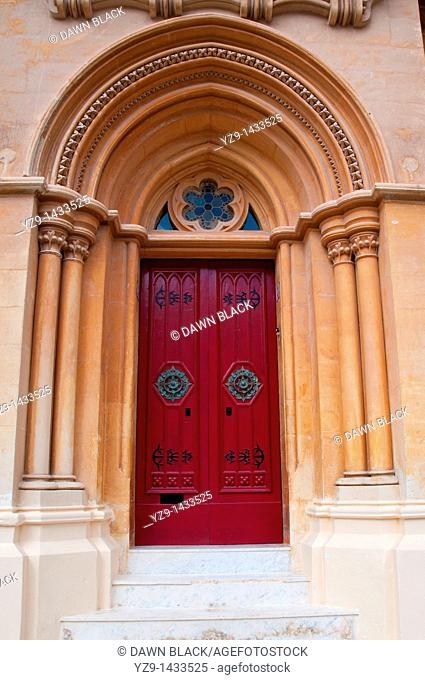 Gothic arched doorway of Number 3, St  Paul's Square, Mdina, Malta