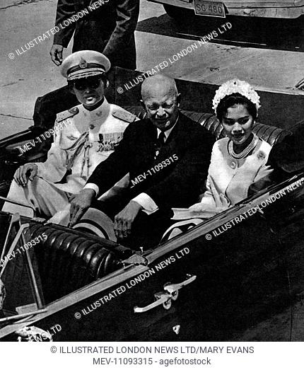 Queen Sirikit of Thailand (1932-) and Husband King Bhumibol Adulyadej (Rama IX) (1927-) pictured with President Dwight D