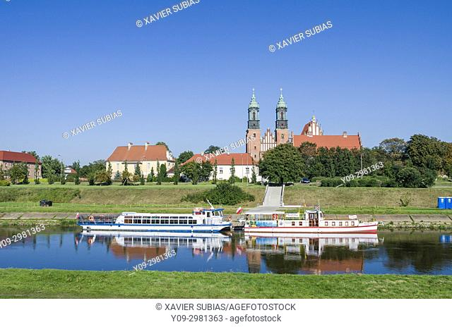 Basilica of St Peter and St Paul, Warta river, Poznan, Poland