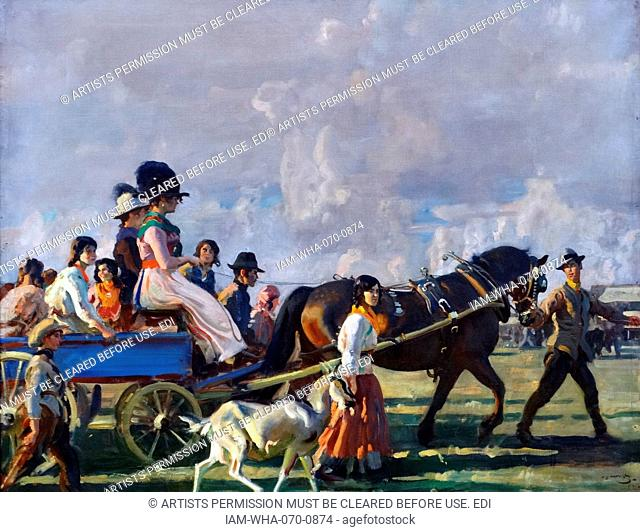 Alfred Munnings (1878-1959) Arrival at Epsom Downs for Derby Week, 1920. Oil on canvas