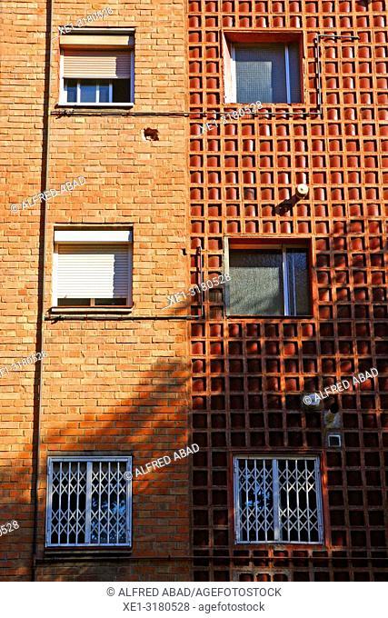 windows of houses, Zona Franca, Barcelona, Catalonia, Spain