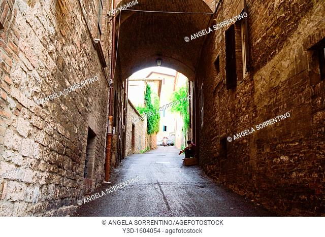 Dark Alley in Perugia historical center, Italy
