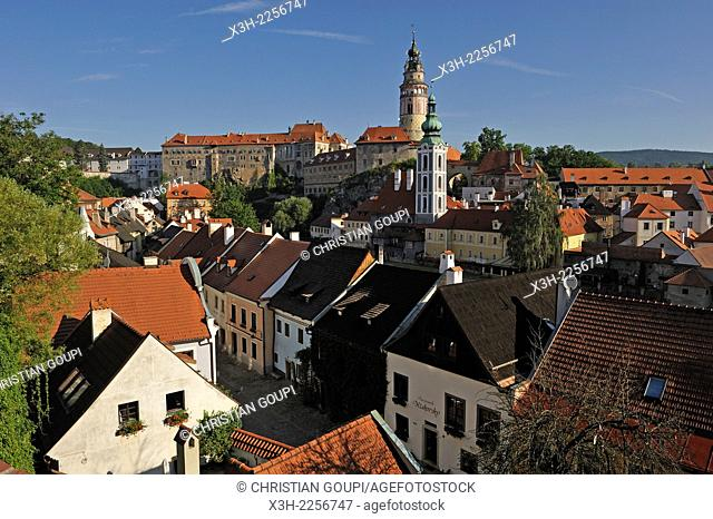 overview of the Old Town of Cesky Krumlov, South Bohemia, Czech Republic, Europe