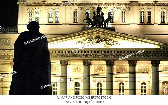Bolshoi Theater by night, Moscow, Russia