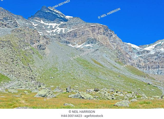 The 4184m summit of the Combin de Valsorey in the Grand Combin massif in the southern swiss alps near Bourg St Pierre