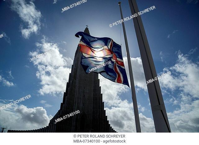 Iceland, Hallgrímskirkja, Reykjavik, backlight, Icelandic flag, Church of Hallgrímur