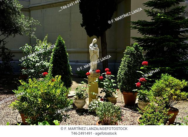 Statue of Virgin Mary in the Iguesia of San Manuel and San Benito, Madrid Spain, is located on Calle de Alcalá, in front of Retiro Park and was built between...