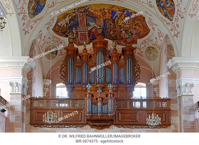 Silbermann organ, church of Saint Maurice, former Benedictine Ebersmunster Abbey, Ebersmunster, Alsace, France