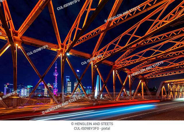 Waibaidu Bridge and Pudong skyline at night, Shanghai, China