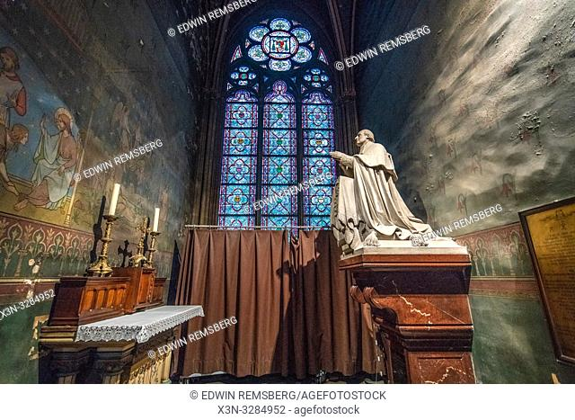 Interior of Notre-Dame de Paris, medieval gothic cathedral in Paris, France, a few weeks before destruction by fire