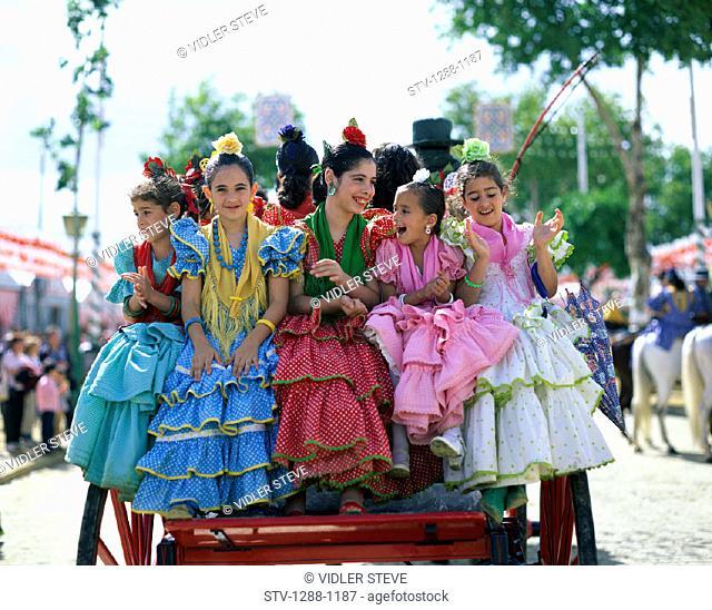 Children, Costume, Dresses, Europe, European, Fair, Flamenco, Girls, Holiday, Landmark, People, Ride, Riding, Seville, Seville f