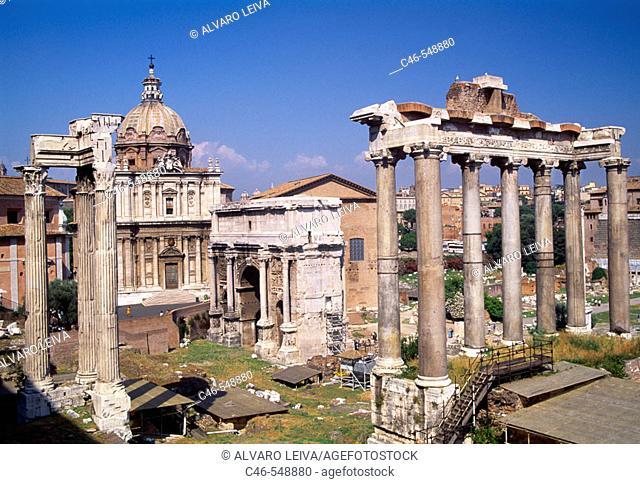 Tempio della Concordia, Arch of Settimio Severo and Chiesa dei Santi Luca e Martina in the Roman forum, Rome. Lazio, Italy