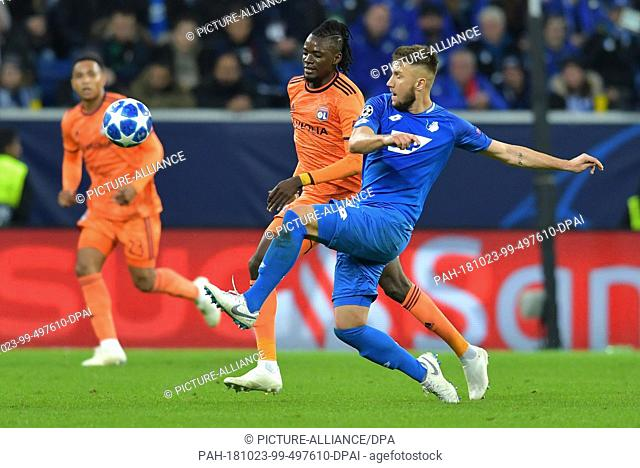 23 October 2018, Baden-Wuerttemberg, Sinsheim: Soccer: Champions League, 1899 Hoffenheim - Olympique Lyon, Group stage, Group F, Matchday 3