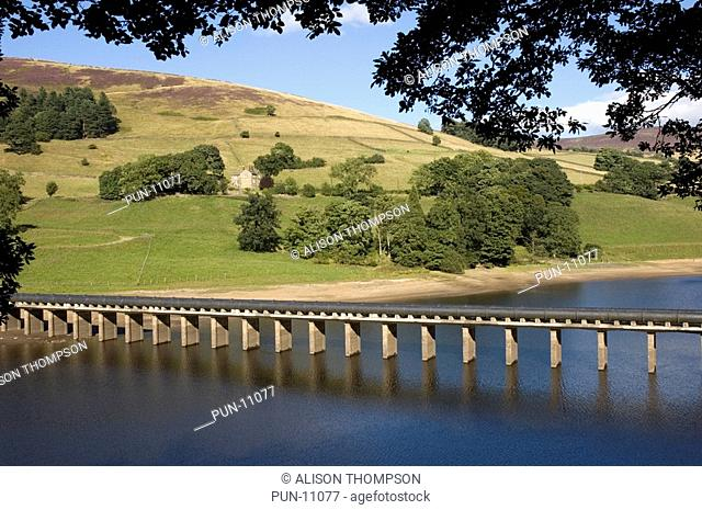 The Derwent Reservoir in the Peak District, Derbyshire, England, which is renowned for having been used by the RAF 'Dam Busters' during World War II