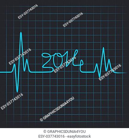 Heartbeat make 2014 - vector illustration