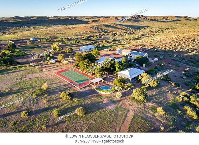Dabis Guest Farm in Helmeringhausen is seen from above, southern Namibia, Africa