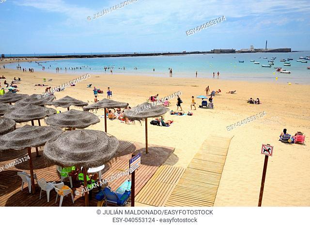 Beach line with bathers in Cadiz