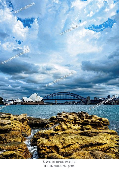 Sydney Opera House on cloudy day