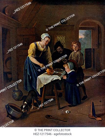 'A Peasant Family at Meal-time ('Grace before Meat')', c1665, (1912). A colour print from Famous Paintings, with an introduction by Gilbert Chesterton