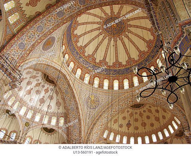 Daytime Interior Dome Blue Mosque Istanbul Turkey