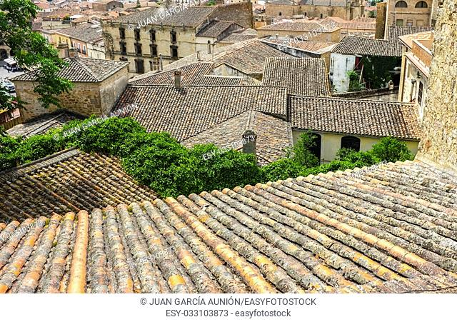 View from upper side of roofs of medieval Trujillo town, Spain. Spanish roof tile