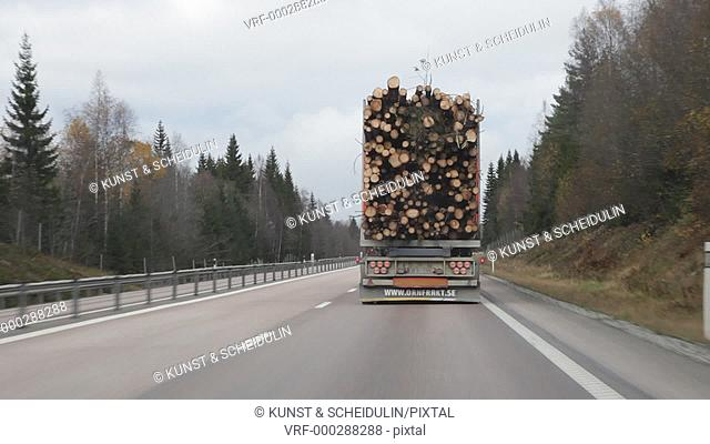 POV shot from a car following and overtaking a timber lorry on a road through forest in autumn. Bjästa, Västernorrlands Län, Sweden