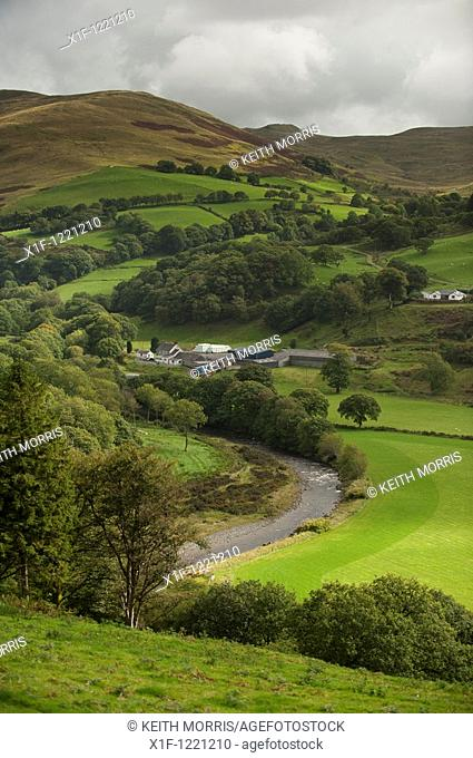 Welsh hill farm on the banks of the River Ystwyth, Ceredigion Wales UK