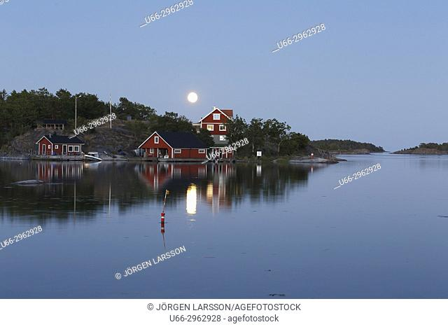 Moonlight over Navelso, Smaland, Sweden