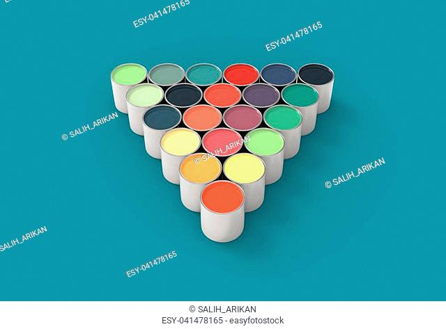 Colorful paint pots isolated on soft green background. 3D illustrating