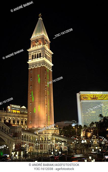 Venetian Hotel Tower at Christmas time